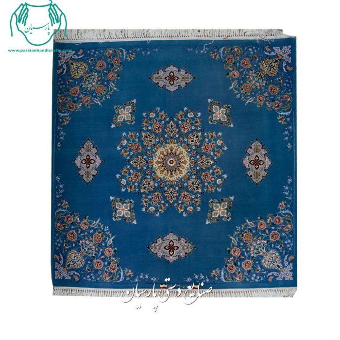 فرش دستبافت اصفهان کف ساده مربع جنس کرک ابریشم