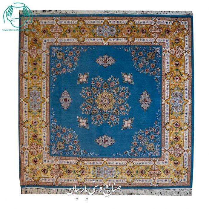 کارگاه فرش دستبافت کف ساده مربع 4 متری کرک ابریشم اصفهان
