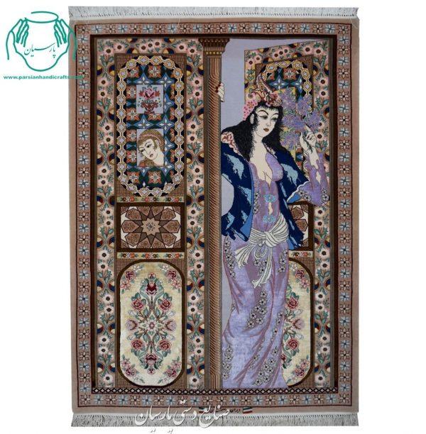 تابلو فرش دستبافت تک صورت جنس کرک ابریشم اصفهان چهره