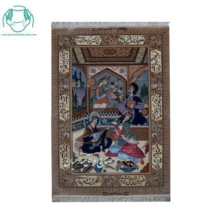 قیمت تابلو فرش مینیاتور جنس کرک و ابریشم اصفهان ۷۰۰ خفت