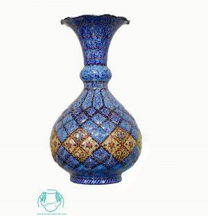 فروش گلدان اسلیمی لاجورد و خطایی مینا کاری شده اصفهان