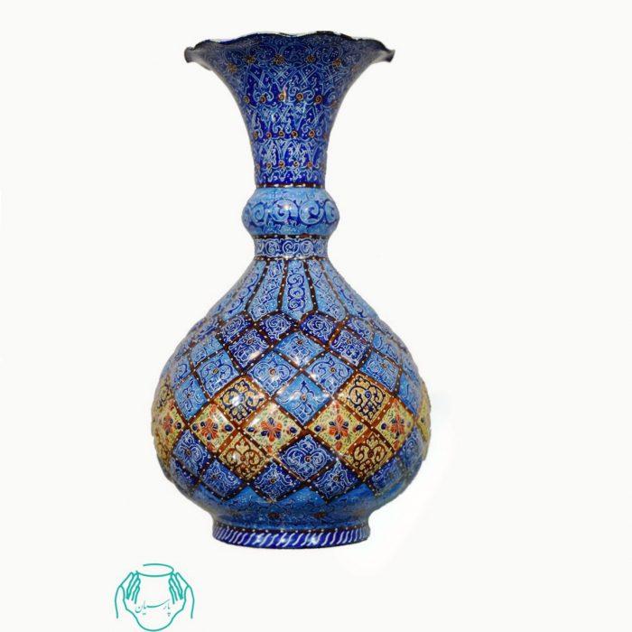 گلدان میناکاری اسلیمی لاجورد خطایی مینا کاری اصفهان