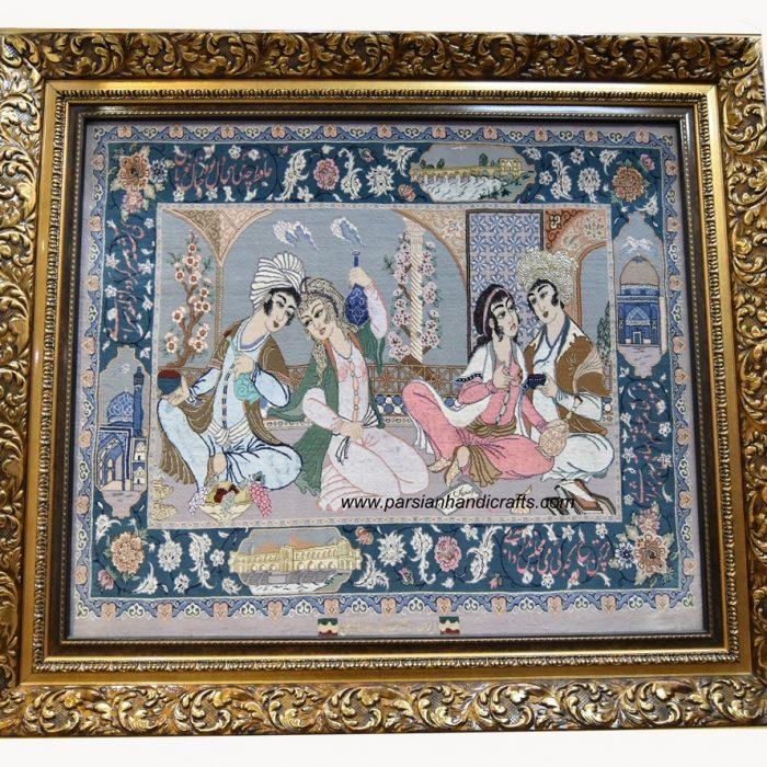 فروش تابلو فرش دستباف مینیاتور 105 *90 جنس کرک ابریشم اصفهان