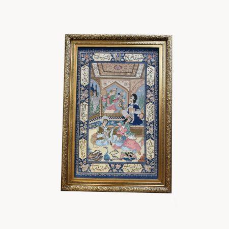 قیمت تابلو فرش دستبافت نقشه مینیاتور کرک ابریشم اصفهان