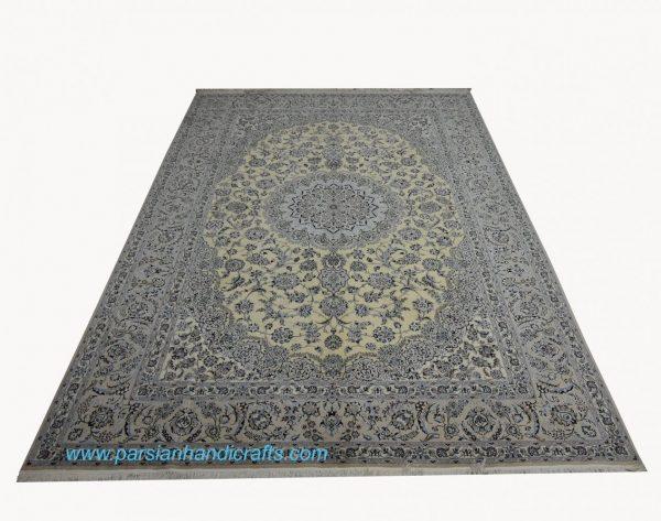 قیمت فروش فرش دستباف لچک و ترنج نائین گل شکوفه اخوان طلایی