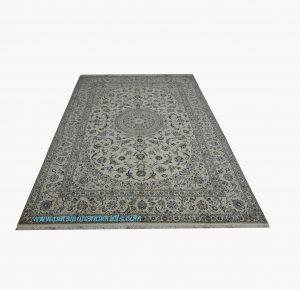 قیمت فروش فرش دستباف نایین لچک ترنج نقشه موجی بژ 2*3