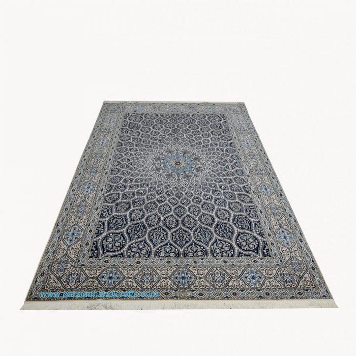 قیمت خرید فروش فرش دستبافت نایین نقشه گنبد سرمه ای 6 متری