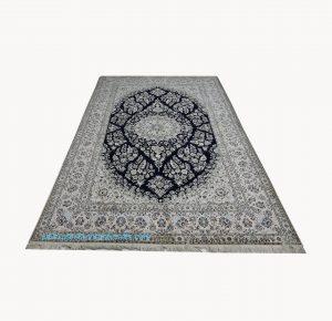 قیمت فرش دستبافت نائین چله ابریشم نقشه دسته گلی لچک ترنج