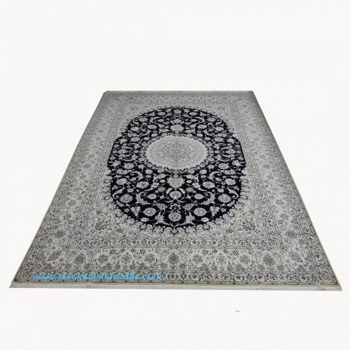 قیمت خرید فروش فرش دستبافت نایین لچک ترنج سرمه ای نقشه موجی