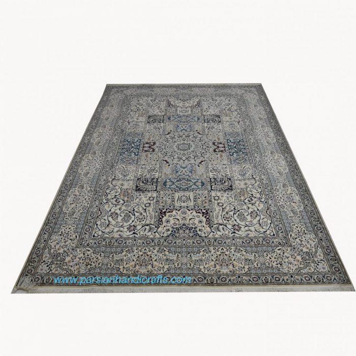 قیتم خرید فروش فرش دستبافت نایین نقشه خشتی اصفهان گل ابریشم