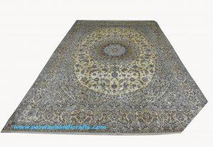 قیمت خرید فروش فرش دستبافت لچک و ترنج چهار لا نائین مارک درخشش