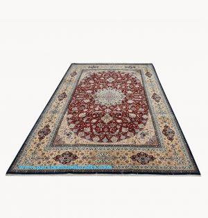 فروش فرش دستباف لچک و ترنج اصفهان زمینه لاکی 9 متری