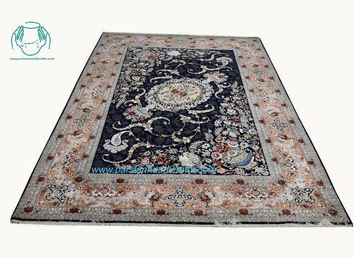 فرش دستبافت اصفهان نقشه گل و بند فرنگ سرمه ای