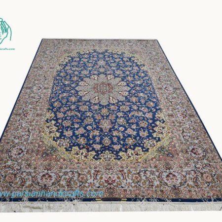 فرش دستبافت اصفهان آبی لچک ترنج 9 متری