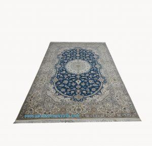 قیمت فروش فرش دستبافت لچک و ترنج نایین سبز پرطاووسی اقیانوسی
