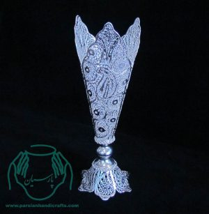 گلدان سه لب ملیله جنس مس روکش نقره لاک محافظ