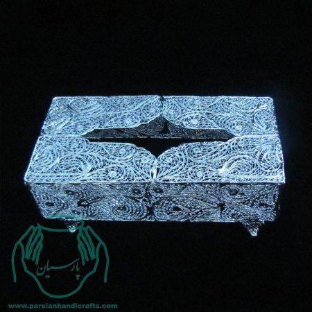 جعبه دستمال کاغذی ملیله از جنس مس با روکش نقره و لاک محافظ ملیله