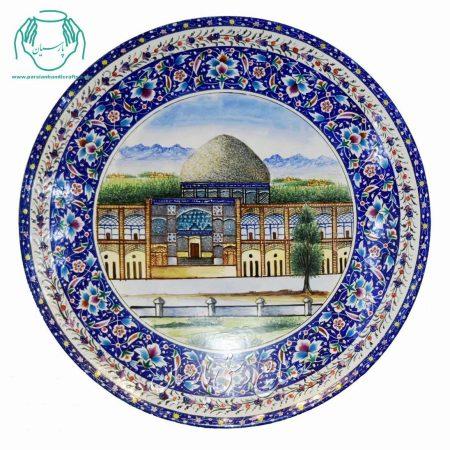 بشقاب سایز 25 میناکاری مسجد شیخ لطف الله گل خطایی دو حاشیه