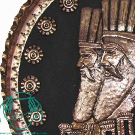 سینی مسی مجمع قدیمی قلمزنی قرمز طرح تخت جمشید برجسته
