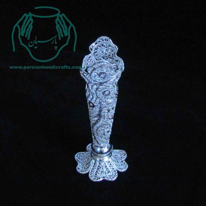 فروش گلدان مدادی سایز ۱ از جنس مس با روکش نقره و لاک محافظ ملیله کاری