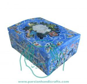 قیمت فروش جعبه کبریتی استخوانی زمینه آبی کوچک نقاشی