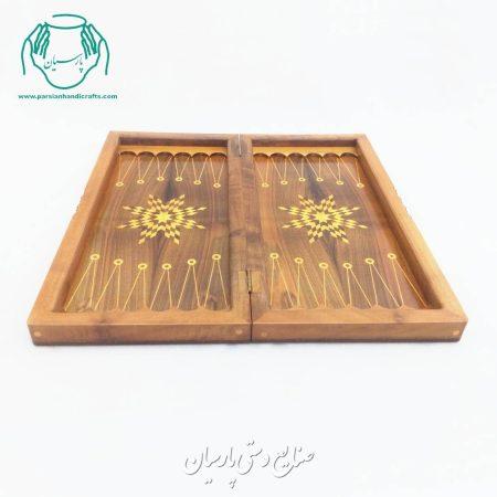 فروش آنلاین تخته نرد و شطرنج 50 سانتی چوب گردو (طرح گلپایگان)