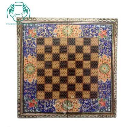 فروش تخته نرد 40 سانتی خاتم و تذهیب چوب راش |تخته نرد خاتم کاری |قیمت تخته شطرنج خاتم کاری اعلی