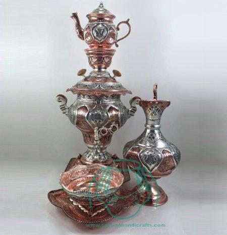 قیمت فروش سماور ۳٫۵ لیتری قلمزنی آبکاری مس و نقره اصفهان دکوری