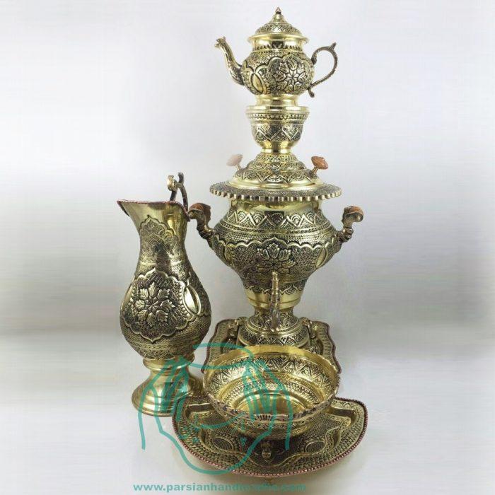 فروشگاه اینترنتی سماور دکوری برنجی ۴ لیتری قلمزنی زینتی صنایع دستی اصفهان