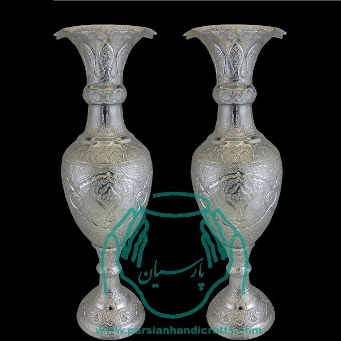 قیمت فروش جفت گلدان قلمزنی آبکاری نقره ۹۰ سانتی