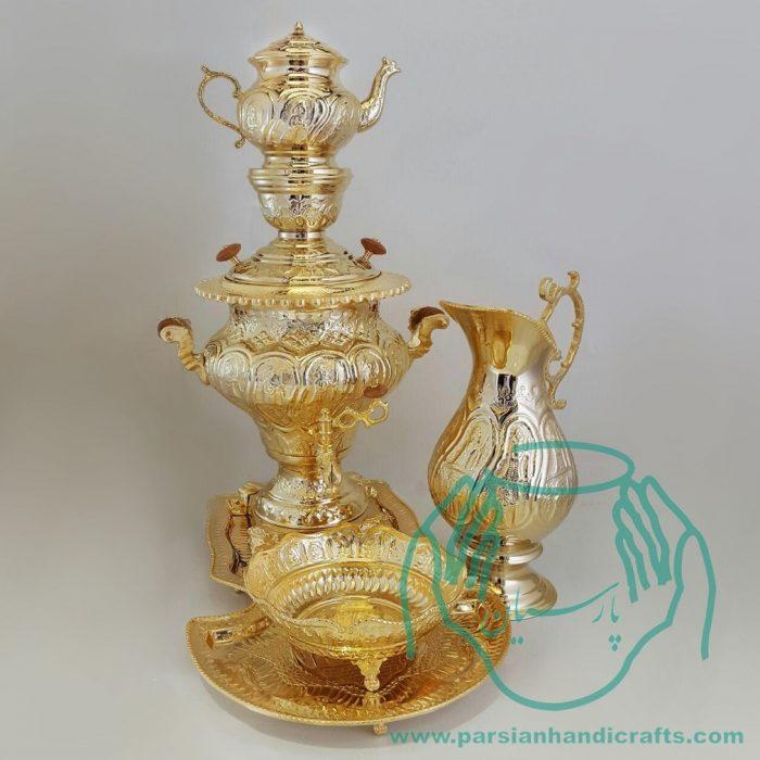 قیمت سماور دکوری طلا قلمزنی اصفهان 4 لیتری