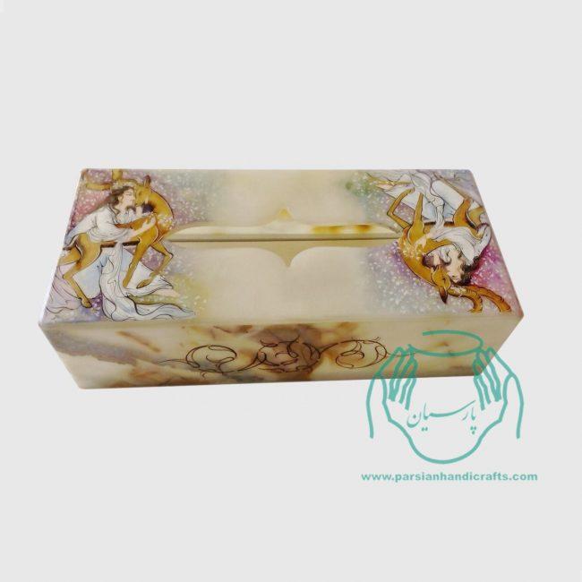 جعبه دستمال سنگ مرمر زن آهو زمانی 11*22