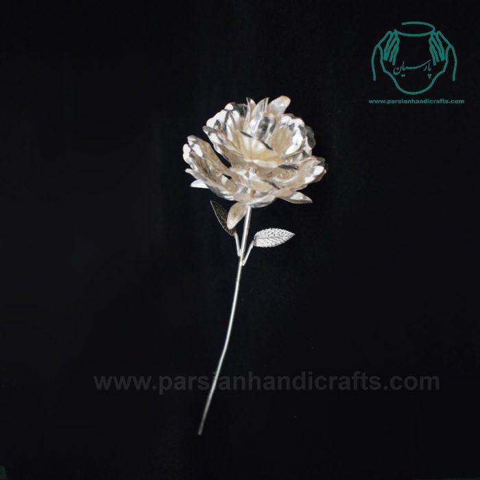 شاخه گل سفید نقره عیار84