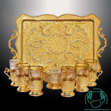 سرویس چای خوری آبکاری طلا قلم استاد رحمتی