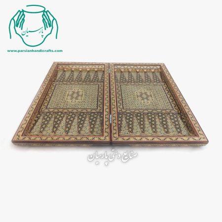 تخته نرد تمام خاتم کاری شده 50 سانتی لب گرد اصفهان