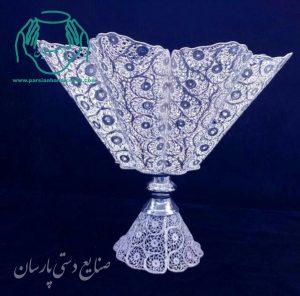 فروش کاسه پایه دار ملیله کاری نقره اصفهان