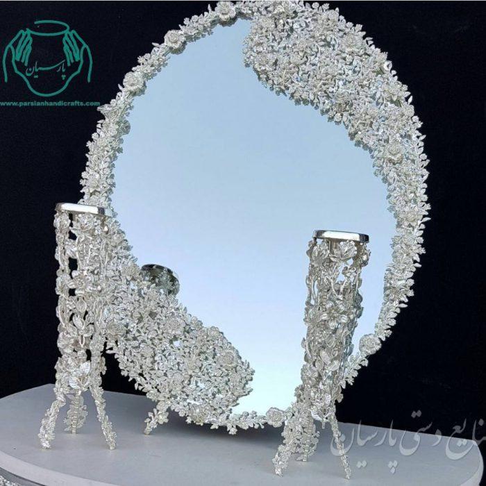 قیمت فروش آیینه و شمعدان ملیله جدید طرح ماه