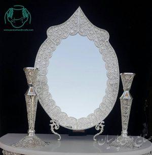 آینه و شمعدان ملیله کاری اصفهان عروس داماد