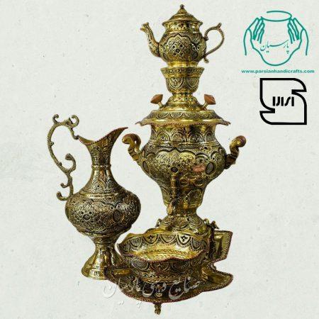 قیمت سرویس سماور دکوری برنجی قلمزنی ریزه اصفهان