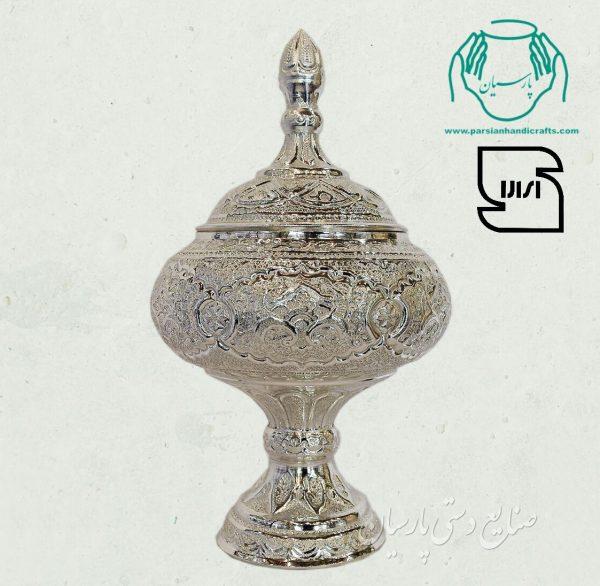قیمت فروش شکلات خوری دست ساز قلم زنی آبکاری نقره اصفهان