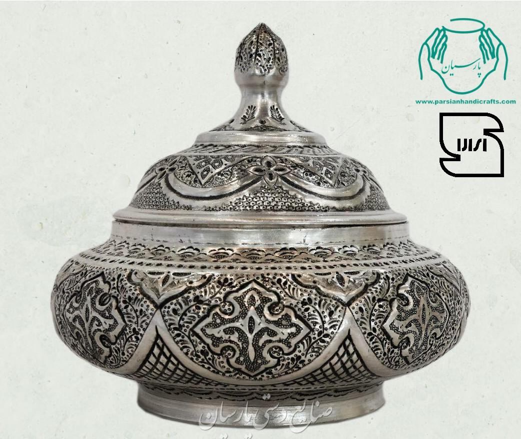 قیمت فروش شکلات خوری آبکاری نقره قلمزنی دست ساز صنایع دستی اصفهان