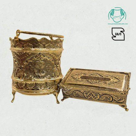 سطل و جادستمال کاغذی آبکاری برنج سیاه قلم اصفهان