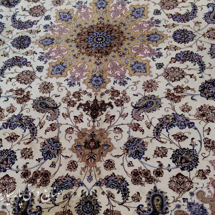 جفت فرش دستباف اصفهان 6 متری دو کف ابریشم
