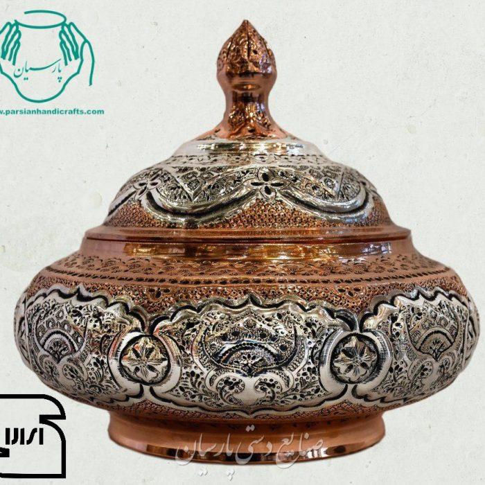 قیمت فروش شکلات خوری قلمزنی دست ساز اصفهان آبکاری مس و نقره