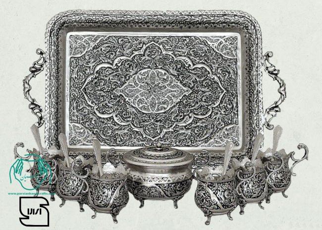 قیمت خرید فروش سرویس چایخوری پایه سلطنتی مسی نقره طرح گل و مرغ