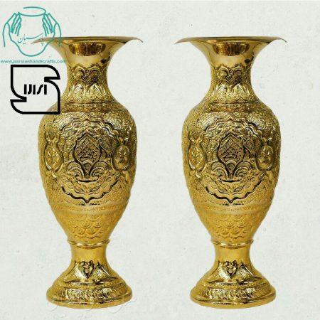 قیمت فروش جفت گلدان قلمزنی مسی آبکاری طلا