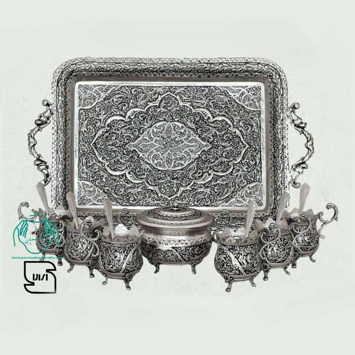 سرویس چایخوری پایه سلطنتی مسی نقره طرح گل و مرغ
