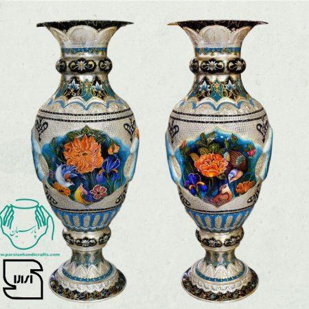 قیمت فروش بازار گلدان مسی تلفیق هنر قلمزنی مینیاتور