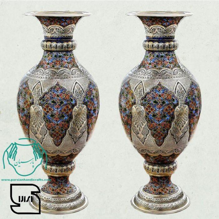 قیمت فروش بازار گلدان مسی تلفیق هنر قلمزنی مینیاتور اصفهان