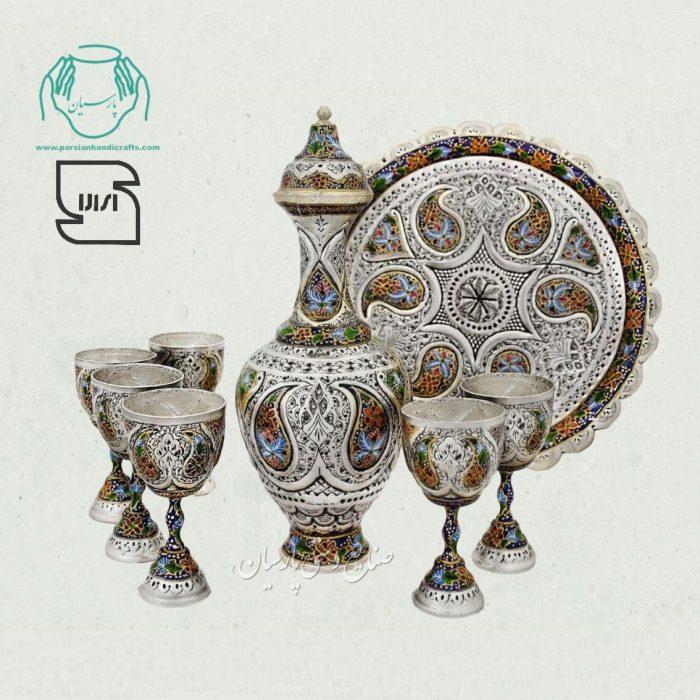 سرویس شراب خوری قلمزنی تلفیق هنر قلمزنی مینیاتور